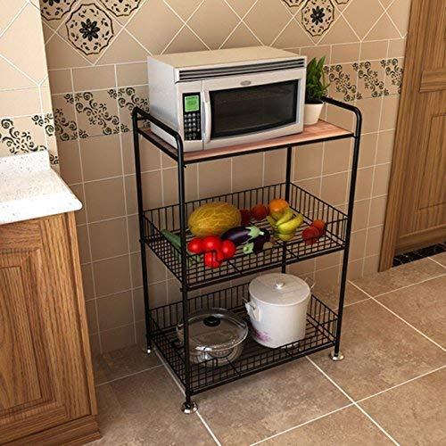 JUNYYANG 3 Tier Floorstanding Kitchen Shelf, Black Carbon Steel Microwave Oven Storage Shelf, Large Capacity Vegetable Fruit Mesh Basket,save space