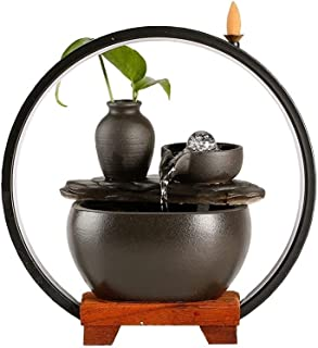 ZLBYB Ceramic Flowing Water Decoration Living Room Lucky Feng Shui Wheel Office Desktop Small Fish Tank Circulating Water