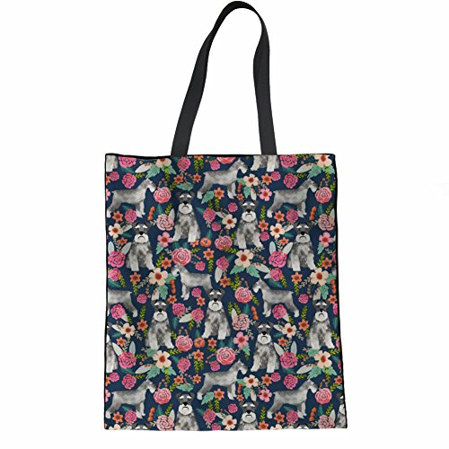 Coloranimal Big Capacity Womens Linen Tote Bag Cute Schnauzer Printed Handbags