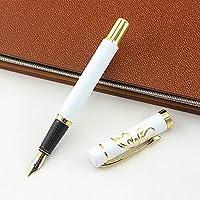 Cafshinu ラグジュアリーホワイトゴールドクリップ万年筆ファインニブ0.5ミリメートルライティングペンツール・スクールオフィス文具ギフト用品