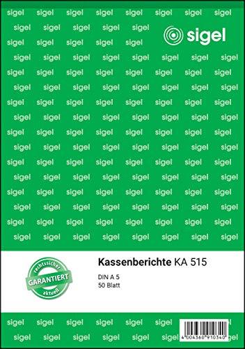 SIGEL KA515 Kassenbericht A5, 5 Stück á 50 Blatt