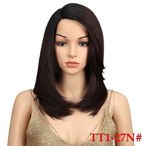 LEZDPP Mesdames Cheveux Courts Talon Haut Perruque synthétique Cheveux côté Dentelle 18 résistant à la Chaleur à Haute température Fibre Non-Gum Droit Matt (Color : A)