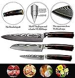 Zeuß 3er Set Küchenmesser (32 cm, 24 cm und 20cm) Damastmesser - Profimesser - 67 Schichten - Damaststahl - Santoku - Kochmesser - Chefmesser - Allzweckmesser - 2