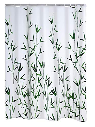 RIDDER Duschvorhang Textil Bambus inkl. Ringe grün 180x200 cm