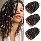3 Packs Spring Twist Hair Ombre Colors Crochet Braids Fluffy Bomb Twist Crochet Hair Synthetic Braiding Hair Extensions Low Temperature Fiber 30 Strands 110g/Pack (8 inch,T1B/27)