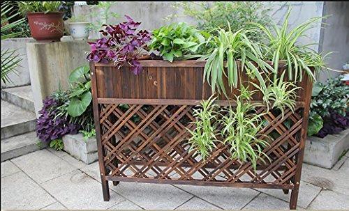 Betriebsstand Outdoor Anti - Korrosion Holz Zaun Trennwand Blumen Racks Massiv Holz Balkon Blumentopf Blumenkasten Boden Töpfe Regal Mehrstufiges Blumenregal ( größe : 120cm )