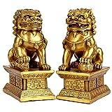 Decoración del hogar / Accesorios de Decoración Feng Shui latón estatua del león Riqueza Porsperity ornamento par de escultura de Fu Foo Perros Guardian, mejor estreno de una casa de felicitación para
