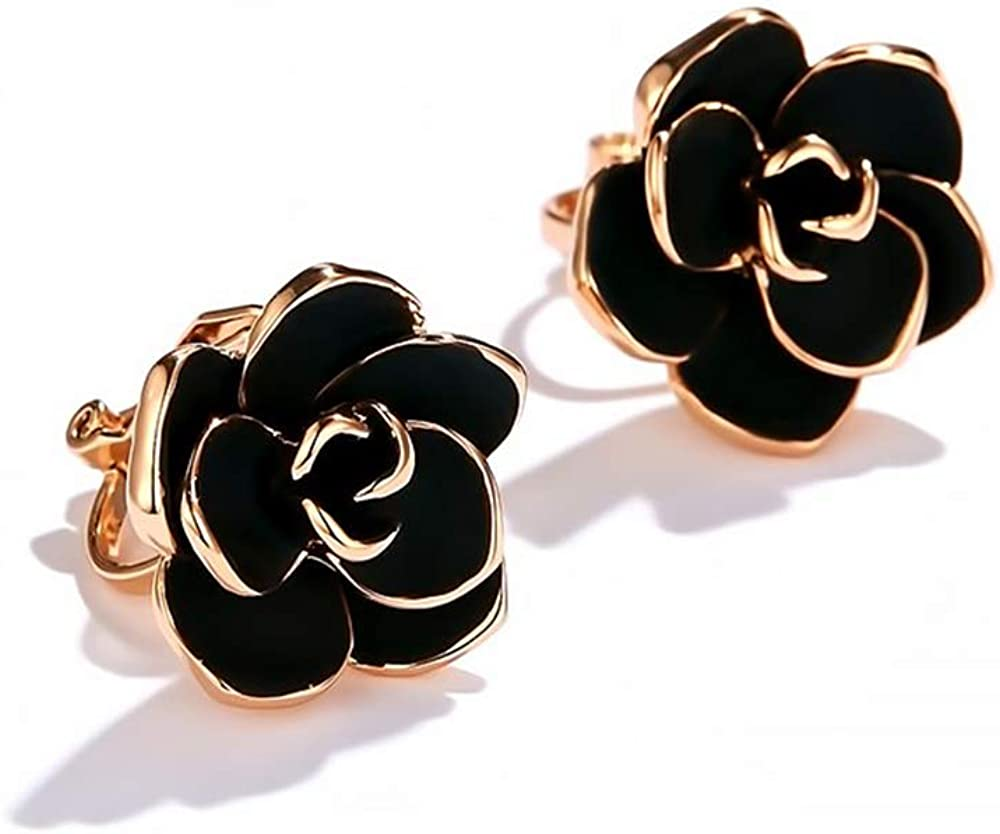 Black Rose Flower Vintage Rose Gold Plated Clip On Fake Stud Earrings for Women Girls No Piercings Ear Fashion Elegant Vintage Wedding Jewelry Gifts for Birthday Hypoallergenic 15mm