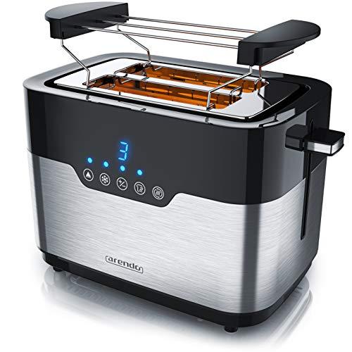 Arendo - Edelstahl Toaster 2 Scheiben mit LED Anzeige – Brötchenaufsatz - extra breite Schlitze – 7 Bräunungsstufen – einseitige Bräunungsfunktion für Brötchen Bagels und Baguettehälften