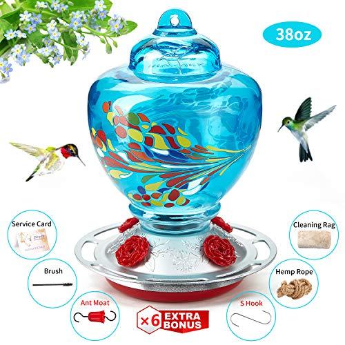 ShinyArt Hummingbird Feeder - Hand Blown Glass - Blue - 36 Fluid Ounces Nectar Capacity Include Ant Moat, Metal Hook, Hemp Rope, Brush, Cleaning Rag and Service Card