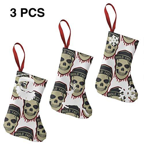 Hold Fast Skull - Medias de Navidad, 3 calcetines para decoración del hogar de Navidad, árbol de Navidad relleno, soportes para bolsas de regalo para niños, decoración de hotel y suministros de fiesta