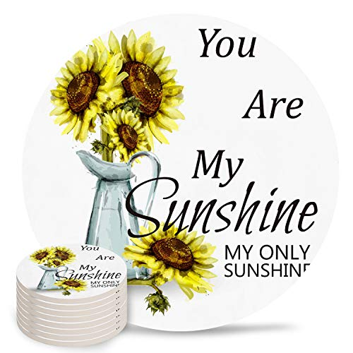 8-Piece Set Ceramic Coasters for Drinks,You Are My Sunshine Sunflower Potted Plant Unique Absorbent Round Ceramics Cork Backed Cup Mat for Home/Housewarming Gift