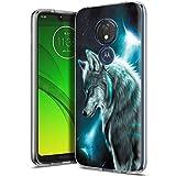 Yoedge Cover Motorola Moto G7 Power, Sottile Antiurto Custodia Trasparente con Disegni Ultra Slim Protective Case 360 Bumper in TPU Silicone per Motorola Moto G7 Power Smartphone (Lupo 2)