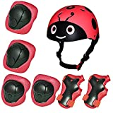 Kiwivalley 7 Pieces Kids Outdoor Sports Protective Gear Set,Kids Safety Helmet,Knee & Elbow Pads,Wrist Guards for Cycling(19.5'-22.5') (Red Ladybug)
