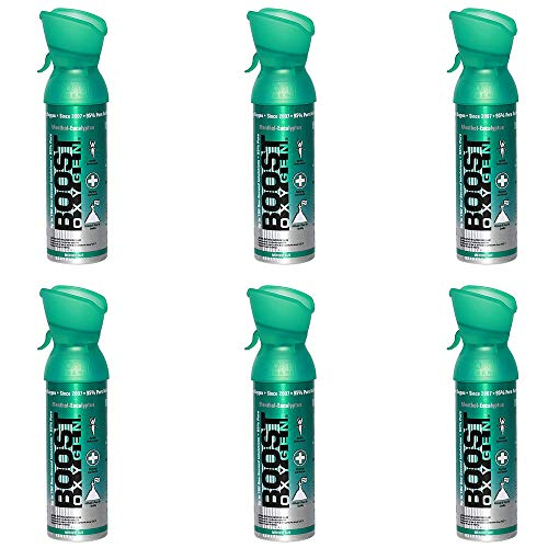 95% Pure Oxygen Supplement, Portable Canister of Clean Oxygen, Increases Endurance, Recovery, Mental Acuity and Performance, 6 Pack (Menthol-Eucalyptus, 6-Pack)
