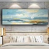 Pintura al óleo de paisaje de barco abstracto natural sobre lienzo, carteles e impresiones, cuadro de arte de pared para sala de estar-(UN50x150cm sin marco)