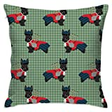 Mabell Beautifully Decorated Home Scottie Dog with Bagpipes - Cute Scottish Terrier Design Tartan - Green Throw Pillow Case 18X18 Inches
