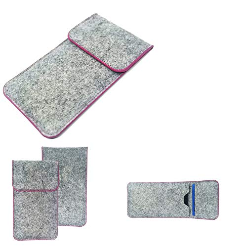 K-S-Trade Handy Schutz Hülle Kompatibel Mit Alcatel 1C Single SIM Schutzhülle Handyhülle Filztasche Pouch Tasche Hülle Sleeve Filzhülle Hellgrau Pinker Rand + Kopfhörer