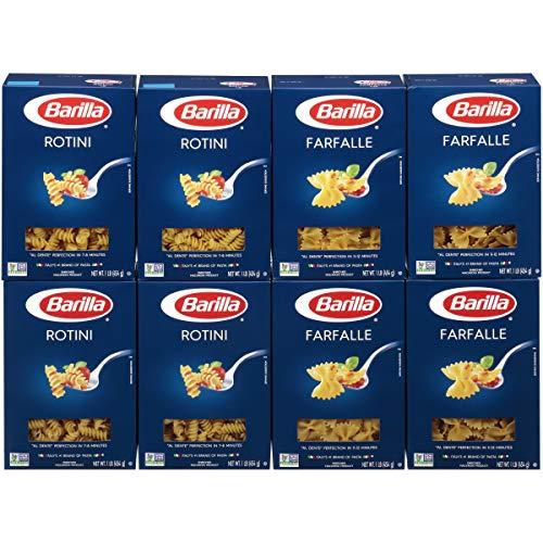 BARILLA Blue Box Pasta Variety Pack, Farfalle & Rotini, 16 oz. Box (Pack of 8), 8 Servings per Box - Non-GMO Pasta Made with Durum Wheat Semolina - Italy's #1 Pasta Brand - Kosher Certified Pasta