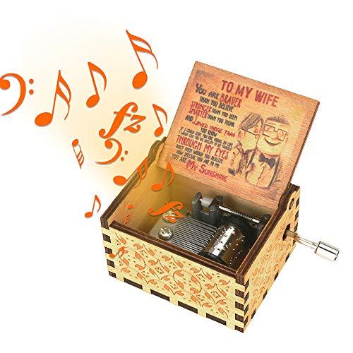 BestCool hölzerne Spieluhr, Sie sind Mein Sonnenschein Handkurbel Spieluhr 18 Notenmechanismus Antike Geschnitzte kreative Spieluhr für Geburtstag, Weihnachten, Valentinstag