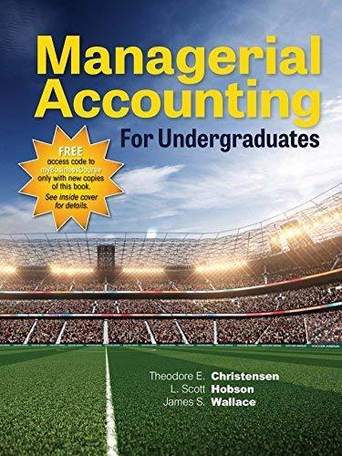 MANAGERIAL Accounting F/UNDERGRADUATES