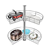 Atposh 24' Lazy Susan Kitchen Corner Cabinet Organizer 270° Kidney Chrome 2 Tiers Rotating Storage Rack