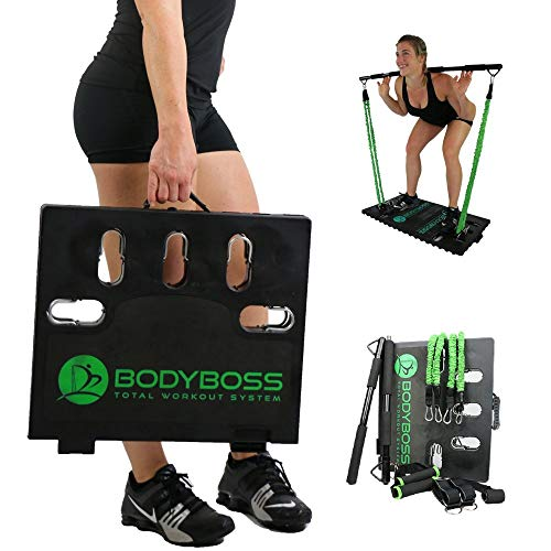 Portable Home Gym - Full Body Fitness and Workouts for Home, Travel or Outside Adjustable Resistance Bands, Collapsible Resistance Bar, Handles, Catalog, Bag