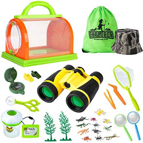 Gimsan Draussen Forscherset Spielzeug, Outdoor Explorer Set für Kinder mit Fernglas, Lupe, Schmetterlingsnetz und Rucksack Tolles Geschenk für 3-12 Jungen und Mädchen Camping, Wandern, Abenteuer