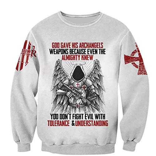 TN-KENSLY Caballeros Templarios Jesús Dios Guardia Cavalier Otoño Pullover Streetwear Impresión 3D Hombres/Mujeres Cremallera/Sudaderas Sweatshirts XL