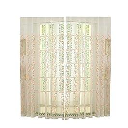 GanYu Paravent de fenêtre en maille, rideaux brodés, 100 paravents en rotin assortis, fenêtre finie.