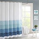 Lindong Streifen Farbverlauf Duschvorhang Wasserdicht Waschbar Anti-Schimmel Textil Stoff inkl. 12 Duschvorhangringe Badewannevorhang blau-1 240x200cm
