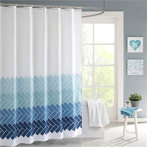 Lindong Streifen Farbverlauf Duschvorhang Wasserdicht Waschbar Anti-Schimmel Textil Stoff inkl. 12 Duschvorhangringe Badewannevorhang blau-1 180x200cm