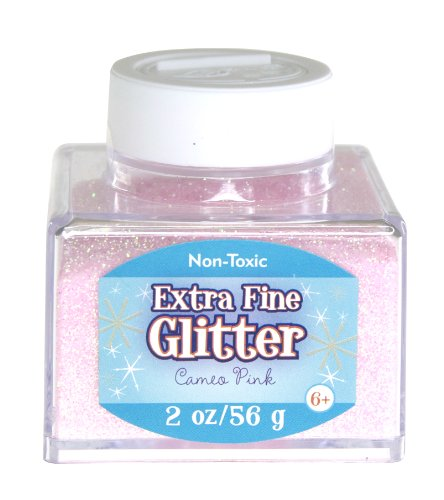 Sulyn Extra Fine Cameo Pink Glitter Stacker Jar, 2 Ounces, Non-Toxic, Stackable and Reusable Jar, Multiple Slot Openings for Easy Dispensing and Mess Reduction, Light Pink Glitter, SUL51825