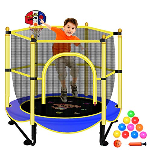 Trampolín para niños – 5 pies interior o exterior trampolines recreativos con red, azul Mini 60 pulgadas pequeño trampolín con cierre de seguridad, aro de baloncesto