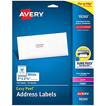 Avery Address Labels with Sure Feed for Laser & Inkjet Printers 1  x 2-5/8  750 Labels