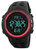 Tonnier Watch Mens Outdoor Sports Watches Multifunction Digital LED Military Dual Time Back Light Stopwatch Waterproof Wristwatches for Man with PU Band(Red)