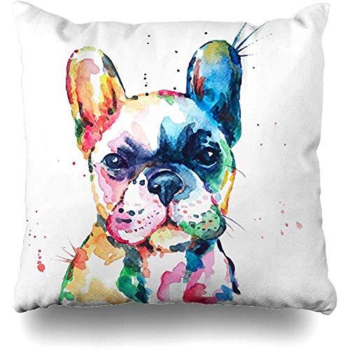 Fundas de cojín Blanco Frenchie Bulldog francés Acuarela original de perro Divertido Happy Puppy Rainbow Tamaño cuadrado al aire libre 45x45 cm Fundas de cojín Fundas de almohada para el hogar