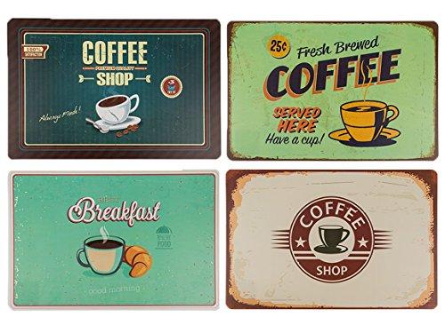 Bada Bing 4er Set Tischset Coffee Retro Look Frühstück Kaffee Retroschild Coffee Shop 235