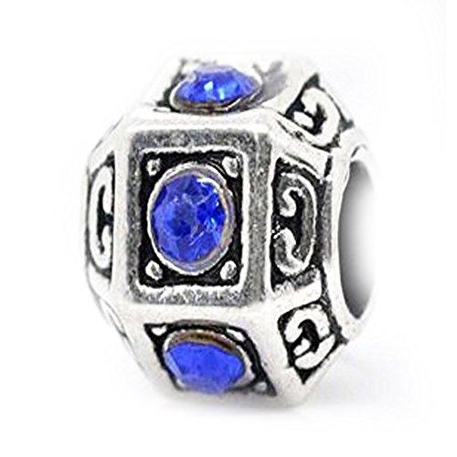 Sexy brilla de la mujer Royal Blue Rhinestone Poliedro Charm Spacer Bead Charm