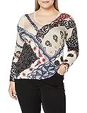 Desigual JERS_Bergen Maglione, Multicolore, XL Donna