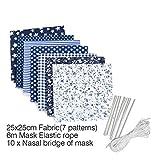 7 unidades de tela de algodón, patchwork, telas de algodón, paquete de tela, 25 x 25 cm, 100% algodón, tela de algodón DIY