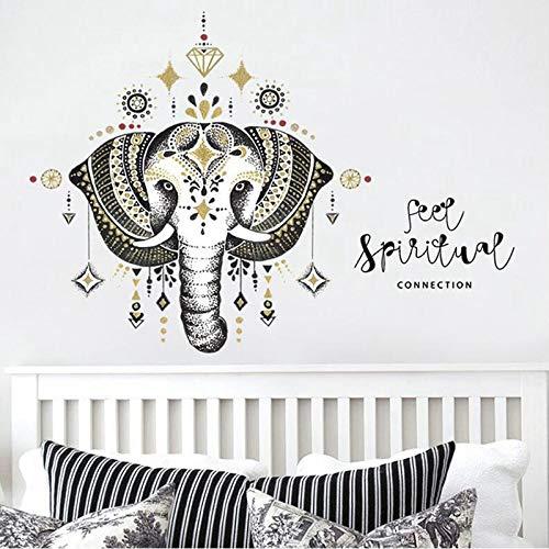 LSMYE Mandala Elefant Wandtattoos Schlafzimmer Indian Yoga Vinyl Aufkleber Aufkleber Dekor blau 43X86cm