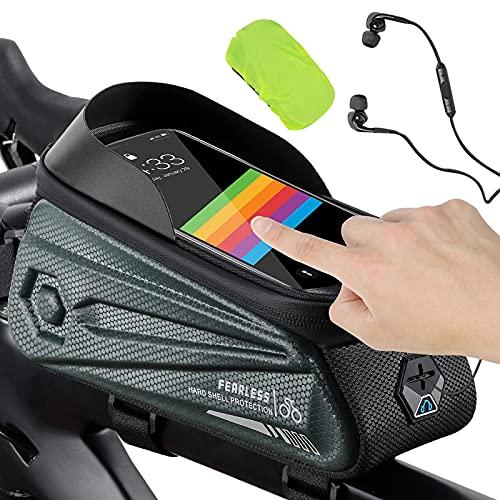 Mantimes Bolsa de marco para bicicleta, impermeable, bolsa de soporte para teléfono de bicicleta