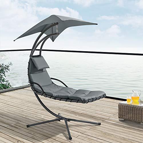 [en.casa] Hängeliege mit Sonnendach Schwebeliege mit Polsterauflage 120 kg Schwingliege Relaxliege Stahlgestell Polyester Grau - 7
