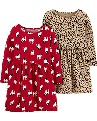 Carter's Baby Girls' 2-Pack Dress Set (18 Months, French Bulldog/Leopard)