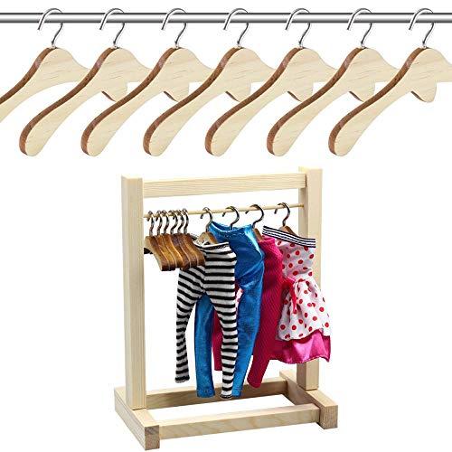 aifengxiandonglingbaihuo 10 12CM Houten Niet-slip Ruimtebesparende Mini Washaak Kleding Hangers Droogrek voor Poppen Shirts Jurken Truien