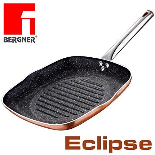 L'originale Bergner Eclipse Griglia da 28cm rivestimento in pietra e rame resistente e antigraffio bistecchiera grill quadrata granito vulcanica lavica marmo per piano cottura a gas e induzione 7609
