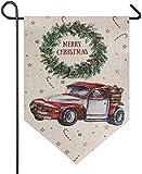 firjiyj Garden Flag,Merry Advent Wreath Santa Pickup Truck Mas Car Candy Star Large House Flag Double Sided Home Yard Decorative Garden Banner-12.5 X 18 Inch