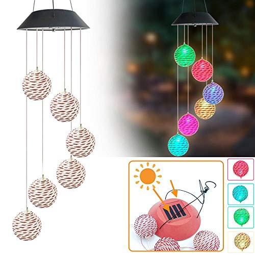 LAMP-XUE zonnekleur veranderen wind Chime spiraal spinner rotan bal wind mobiele draagbare waterdichte outdoor decoratieve romantische wind Bell licht voor patio werf tuin huis rotan bal