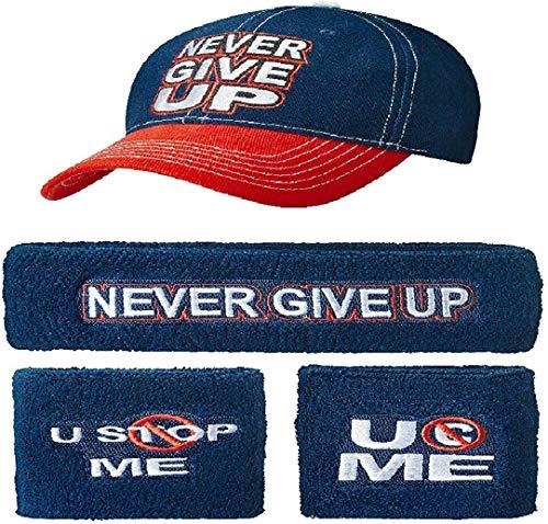 John Cena Wwe Never Give Up Blau Rot Baseball Mütze Stirnband Armband Satz